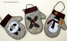 Felt Christmas Ornaments Mittens