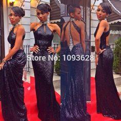 2015 Black Sparkly High Neck A-line Sequin Prom Dresses Evening Dresses LS09245