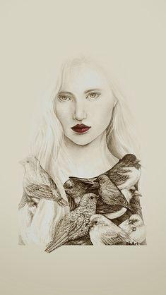 Bird women 1 from Okart drawing #illustration #birds #ethereal