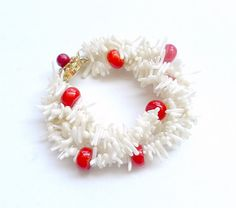 Bracelet  white and red coral length 20 cm by anamarina on Etsy, $32.00