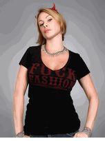 Felon Clothing for Lucky 13 - Sexy Black <b>FCUK Fashion</b> V-neck T-shirt