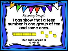 Learning Target Poster Teen Numbers Ready Math First Grade - Lesson 12 - Understand Teen Numbers