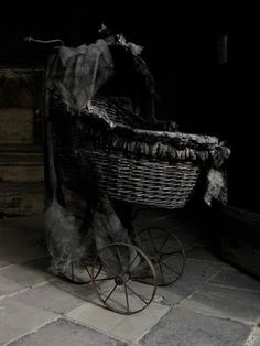 old baby carriage - strange Gothic Baby, Rosemary's Baby, Baby Bats, Baby Carriage, Cool House Designs, Macabre, Dark Art, Black And White Photography, Abandoned