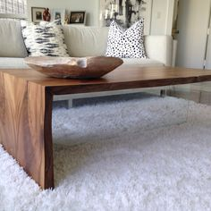 Wood Coffee Table - Floating and rustic design with live edge by PANwoodenproducts on Etsy https://www.etsy.com/listing/243542678/wood-coffee-table-floating-and-rustic. $880.00