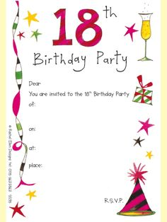 18th Birthday Party Just Click The Image And Save It On Your Computer Carnival Invitations