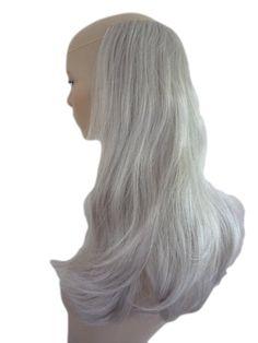 ハーフ ウィッグ ヘアピース シルバー グレー クリップ付 ワンピース 自身の髪で覆ってブラッシング