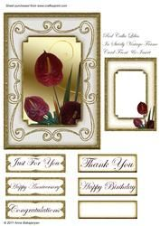 Red Calla Lilies In Swirly Vintage Frame Card Front Insert