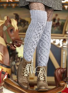 Over the knee cabled #25 socks by Shiri Mor - Vogue Knitting Holiday 2012