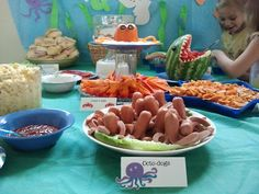 Food ideas: Octodogs, submarine sandwiches, fish and chips, orange pepper crab with dip, seashells and cheese
