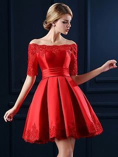 Shop Red Off Shoulder Lace Hem Half Sleeve Lacing Back Prom Skater Dress from choies.com .Free shipping Worldwide.$81.99