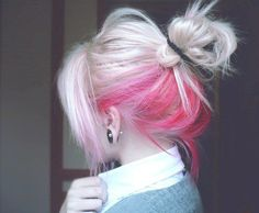 blonde and pink hair, pink underside #hair #pink