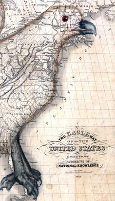 The Eagle Map of the United States engraved for Rudiments of National Knowledge by Isaac W. Moore c1833.    Relief shown pictorially. Shows the image of an eagle superimposed on the United States.    Entered according to act of Congress in the year 1832 by J. Churchman in the Clerk's Office of the Eastern District of Pennsylvania.