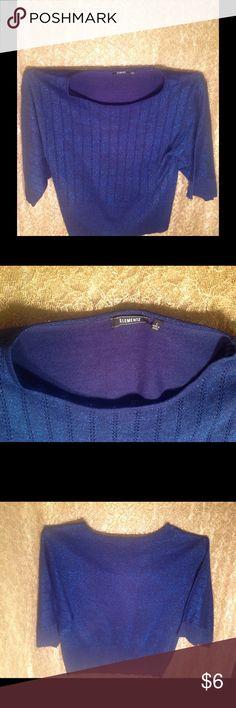 Elementz Blue Metallic Blouse 3/4 Length Sleeves * 95 % Acrylic 3 % Polyester 2% Metallic * Pull over round neck *  Sparkle of Blue Metallic * Tapered Hemline * Elementz Tops Blouses