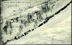 Nordland fylke Narvik Ofotbanen  Malmtog-nedstyrtet af Banen ved Sneskred. Brukt i 1914, enerett Rosa Wennstrøm, Narvik.