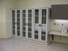 Hospital storage cabinets.
