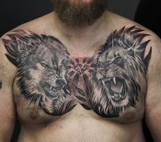 Tattoo Aleksandr Makarov - tattoo's photo In the style Black and grey, Male, Wolves, Lio Chest Tattoo Wings, Cool Chest Tattoos, Chest Piece Tattoos, Back Tattoos, Body Art Tattoos, Tattoos For Guys, Clock Tattoo Design, Wolf Tattoo Design, Tattoo Designs