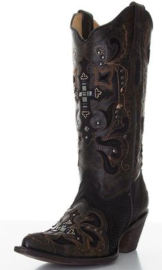 Corral Women's Python Cowboy Boots with Leather Overlay, Crystals, and Studs -