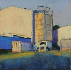 Trucks and Silos by Lyn Asselta Pastel ~ 8 x 8