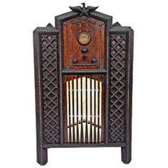 Tramp art radio cabinet....