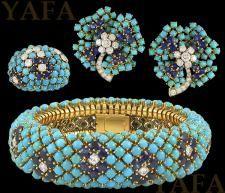 VAN CLEEF & ARPELS Diamond, Turquoise and Sapphire Bracelet Suite