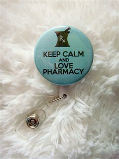 Keep Calm and Love Pharmacy Badge Reel (Belt Slide Clip or Swivel Spring Clip) badge holder, pharmacy, pharmacist, id holder, id badge on Etsy, $7.50