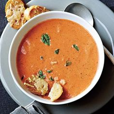 Tomato-Basil Soup with Cheese Toast | CookingLight.com