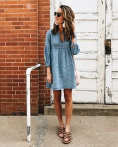 chambray dress and slide sandals