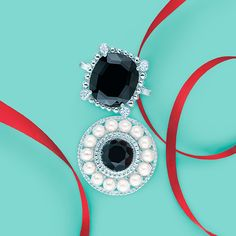 Ziegfeld Collection rings in sterling silver, from top: black spinel ring with diamonds and pearl ring with a round black onyx.  #TiffanyPinterest