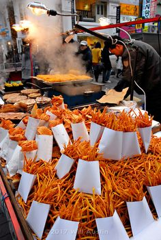 Street Food Vendor in Myeongdong District in Downtown Seoul South Korea