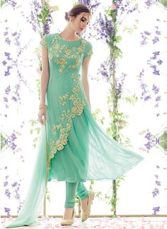 Green Embroidered Pure Georgette Anarkali Suit