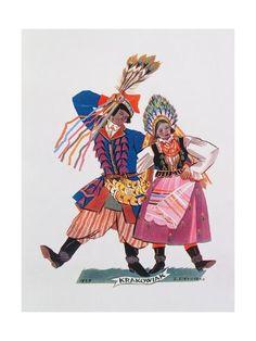 Giclee Print: Krakowiak, Tance Polskie, 1927 by Zofia Stryjenska : Folk Dance, Dance Art, Polish Folk Art, Great Paintings, Japan Art, Traditional Art, Caricature, Giclee Print, Pop Culture
