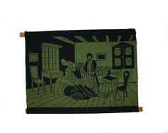Decorative vintage retro textile artwork: by TopNotchScandinavia