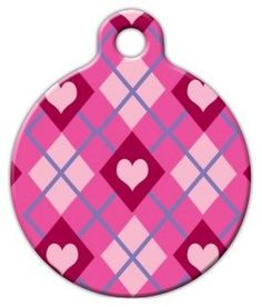 "Lupine Pattern ""Puppy Love"" - Custom Pet ID Tag for Dogs and Cats - Dog Tag Art - LARGE SIZE - http://www.thepuppy.org/lupine-pattern-puppy-love-custom-pet-id-tag-for-dogs-and-cats-dog-tag-art-large-size/"