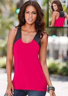 Fushia & Black Faux Leather Trim Tank $29 Venus.com