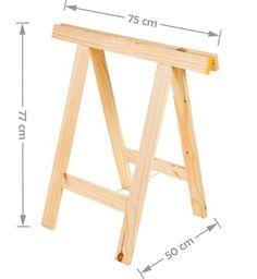 cavalete para mesa escritório madeira 75 x 80 lixado