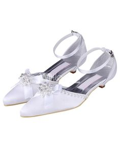 Pearl Decorations, Bridal Sandals, White Satin, Wedding Shoes, Ankle Strap, Kitten Heels, Toe, Pearls, Sweet
