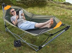 Portable Folding Hammock, nice for back yard or taking to sporting events Used Rvs, Outdoor Furniture, Outdoor Decor, Camping Equipment Rental, Camping World, Stuff To Buy, Home Decor, Homemade Home Decor, Yard Furniture