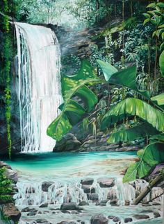 A beautiful waterfall in the Northern Range mountains of the island of Trinidad Waterfall Drawing, Waterfall Paintings, Landscape Drawings, Landscape Art, Landscape Paintings, Rain Painting, Autumn Painting, Caribbean Art, Tropical Art