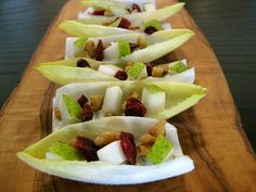 Made this tonight.  So yummy.  Endive spears with whipped blue cheese, maple walnuts, cranberries and I substituted pears with pancetta as I'm allergic to pears and pancetta tastes AWESOME.