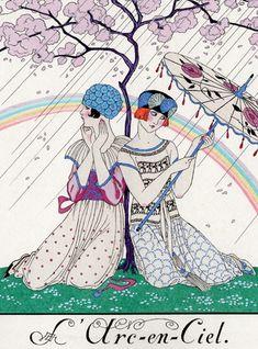 ▫Duets▫groups of two in art and photos - girls with parasol, George Barbier Art Nouveau, Art Deco Illustration, Inspiration Art, Art Deco Movement, Art Deco Posters, Vogue Covers, Pin Art, Art Deco Design, Magazine Art