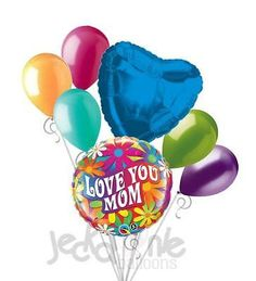 7 pc Happy Mother's Day Psychadelic Daisy Balloon Bouquet Party Decoration Mom