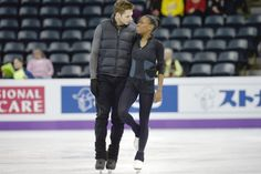 Vanessa James and Morgan Cipres warm up before practice at Budweiser Gardens in preparation for the 2013 World Figure Skating Championship. Hockey Players, Tennis Players, Vanessa James Morgan Cipres, Rainbow Family, Interacial Couples, Black Couples, Mixed Couples, World Figure Skating Championships, Star Wars