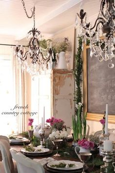 FRENCH COUNTRY COTTAGE dining space style inspiration + use pair of chandeliers over table