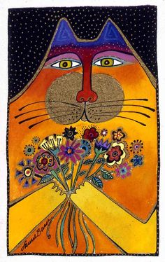 cat with flowers - I ♥ Laurel Burch Art
