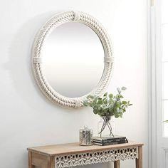 White Coastal Rope Wall Mirror, 36 x 36 Round Mirror With Rope, Large Round Wall Mirror, Rope Mirror, Wall Mounted Mirror, Wall Mirrors, Modern Coastal, Coastal Style, Coastal Mirrors, Frames On Wall