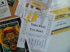 "We posted ""Take What You Need"" tear-off flyers around town"