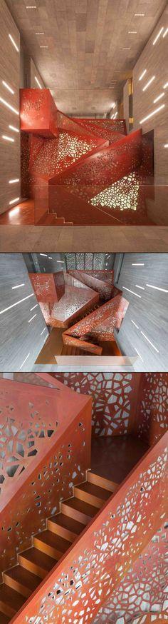 ღღ PLEASE DO NOT DELETE DESCRIPTION TO PROTECT THE SOURCE OF THESES IMAGES! ~~~ http://freshome.com/2013/07/25/visually-striking-3d-perforated-copper-staircase-by-arup/                                                         - created via http://pinthemall.net