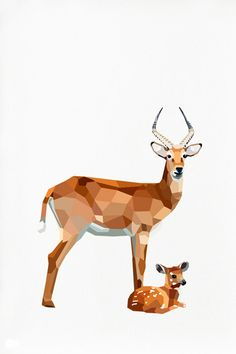 Antelope and baby Geometric illustration by tinykiwiprints