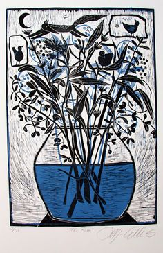 linocut print, Fox Run, with flowers and seedpods and grasses in a vase, in black and blue on white paper