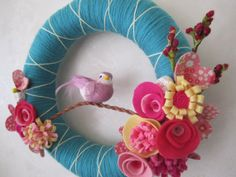 Spring Bloom Yarn Wreath Origami Crane Pink by polkadotafternoon